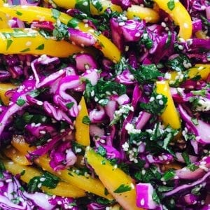 red cabbage and coriander salad
