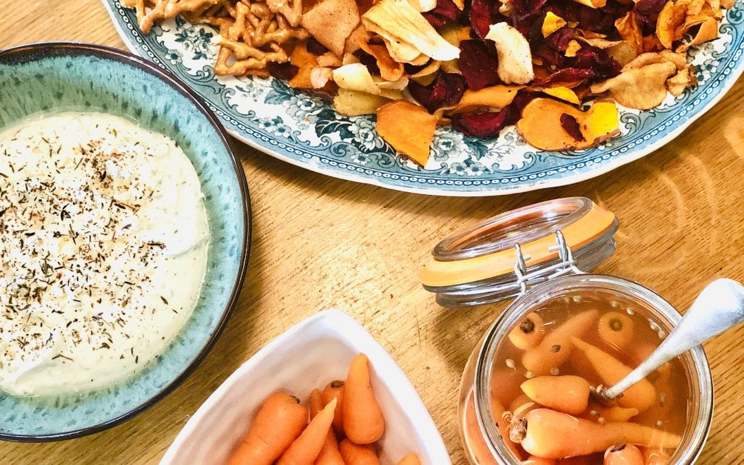Pickled Carrots with Feta and Herb Dip